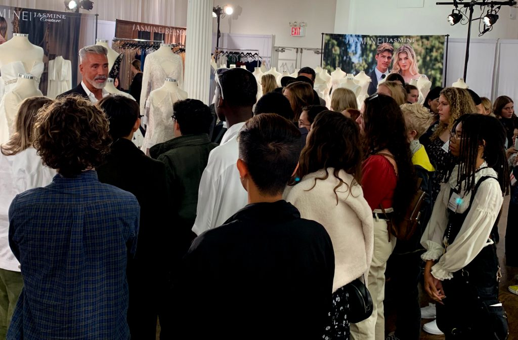 NYBFW- Jose Dias Talks Jasmine Bridal Gowns with Students
