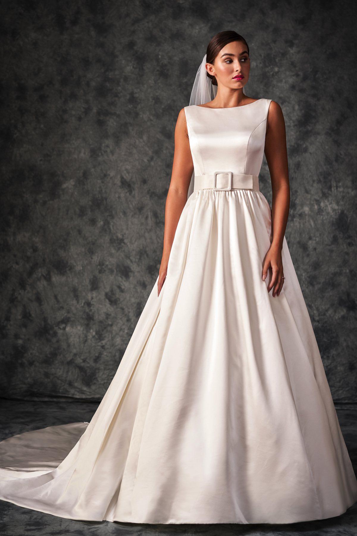 A229010 Silk Satin Sabrina Neckline Ball Gown With Deep Back