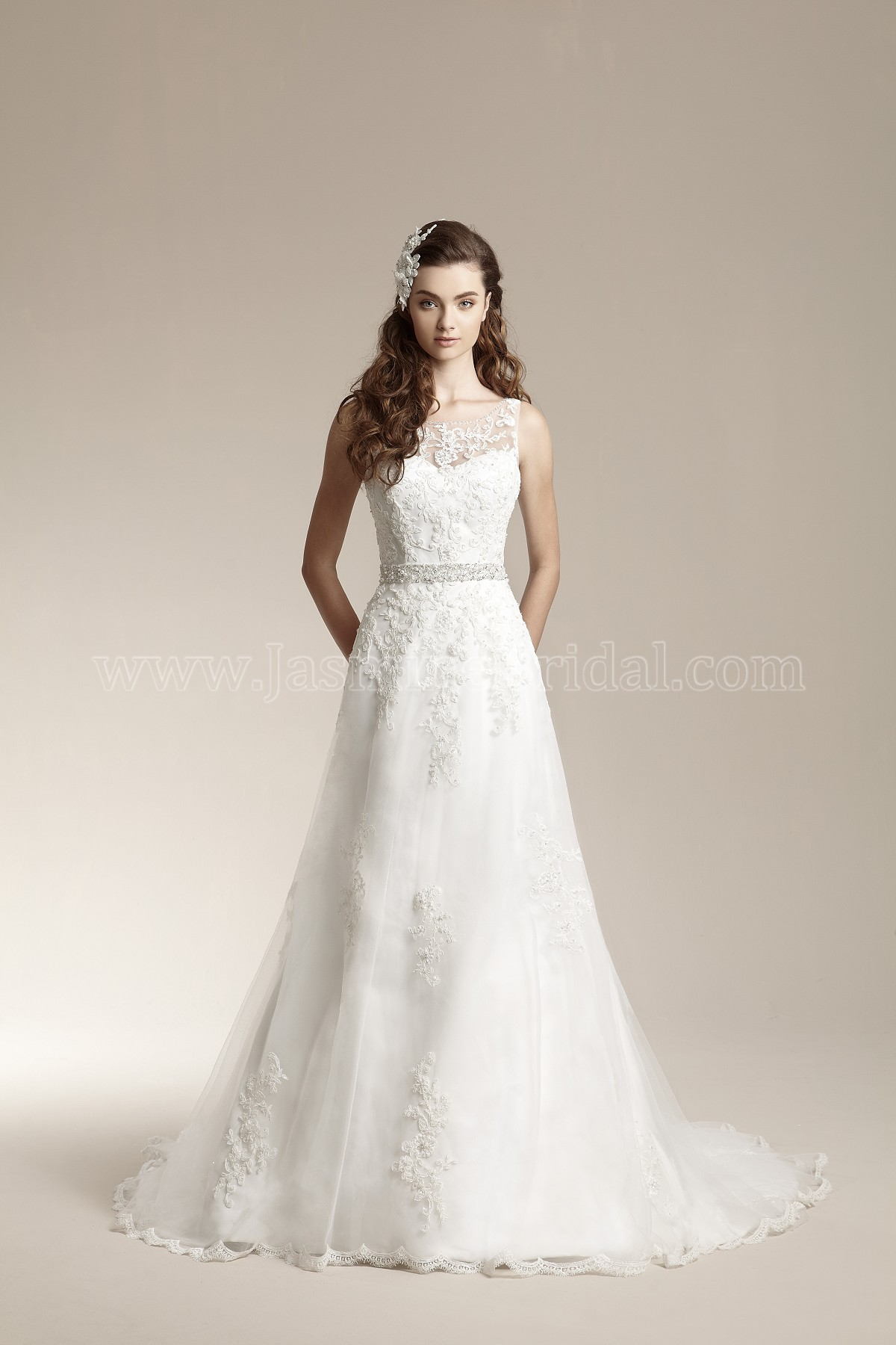 F151012 Illusion Neckline Tulle Wedding Dress with Embroidery & Beading