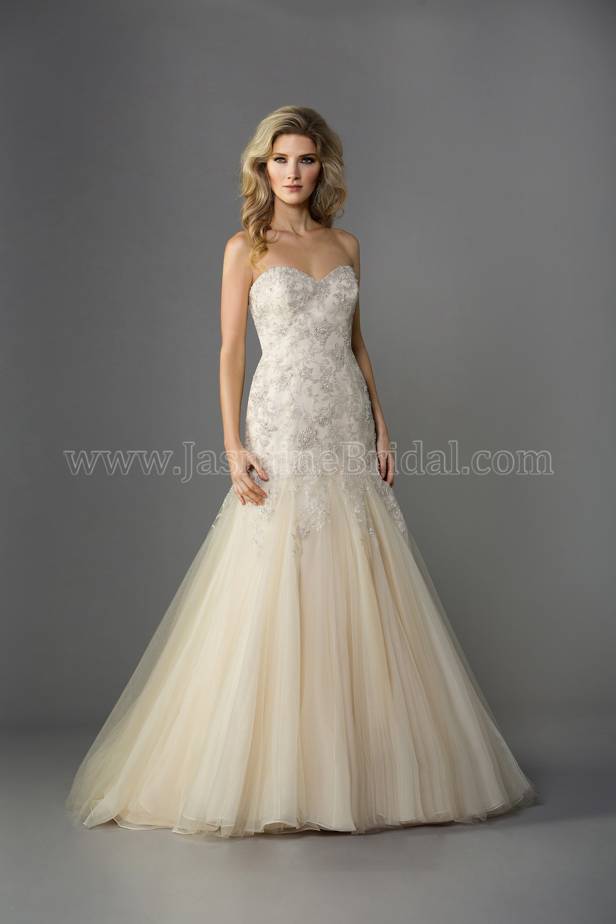 F161057 Sweetheart Strapless Lace & Netting Wedding Dress with Beading