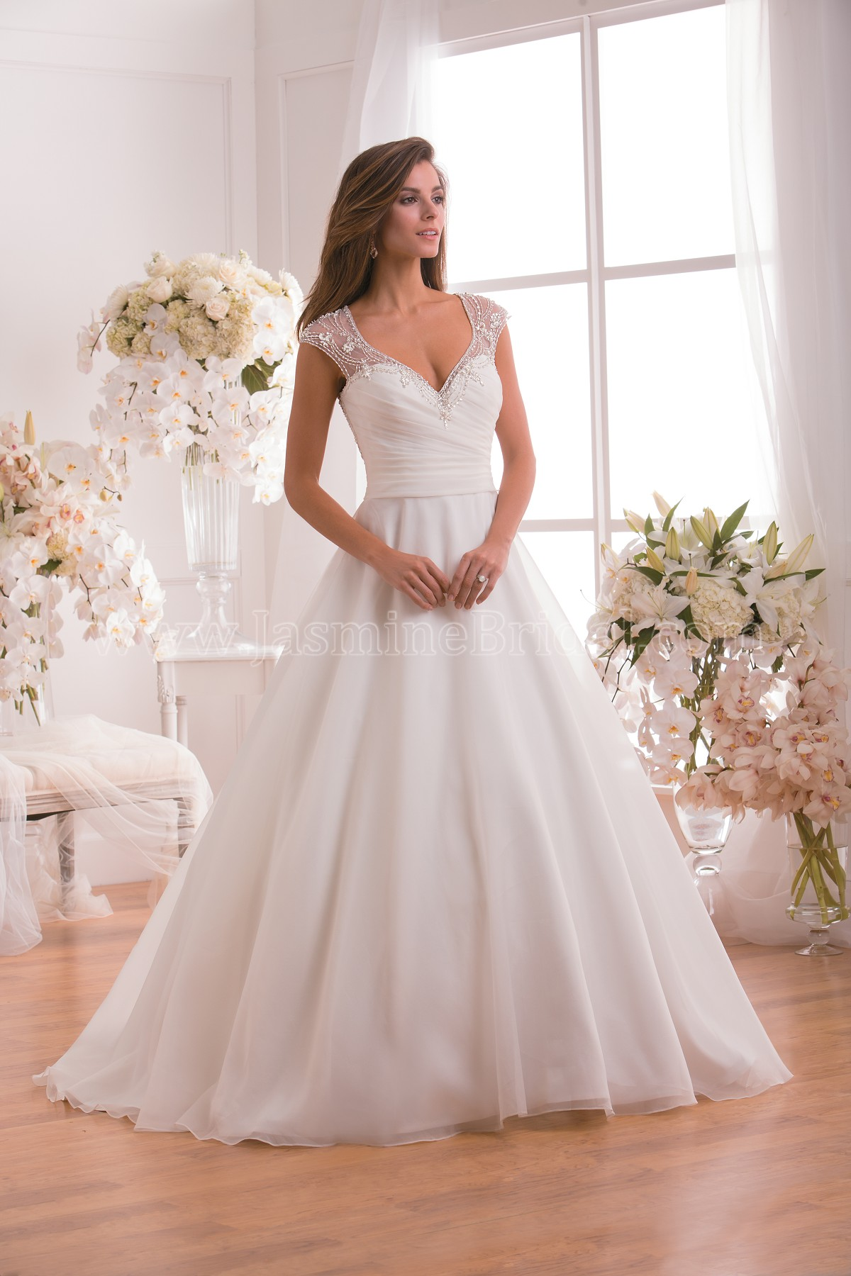 F171010 V-neck Organza Wedding Dress with Beading