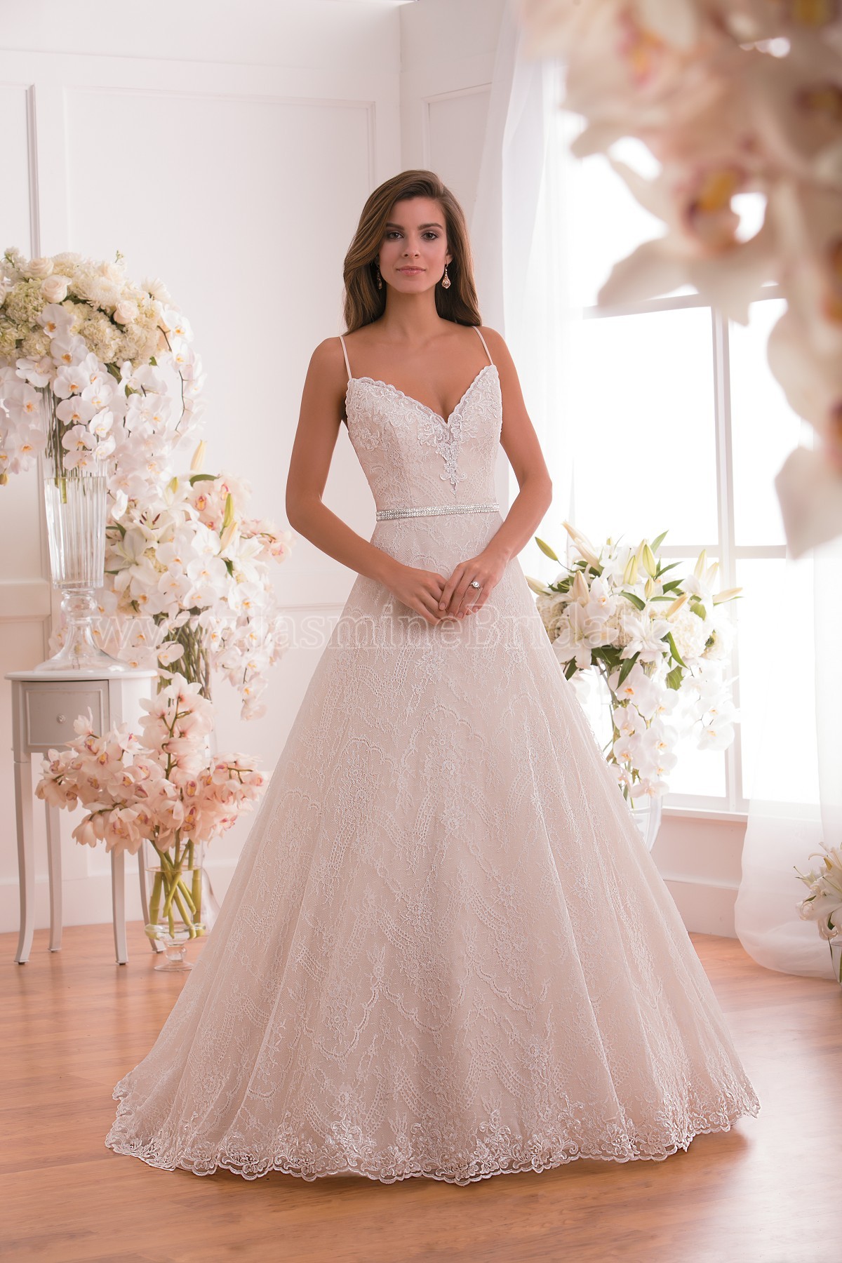 F171012 V-neck Lace & Organza Ball Gown Wedding Dress