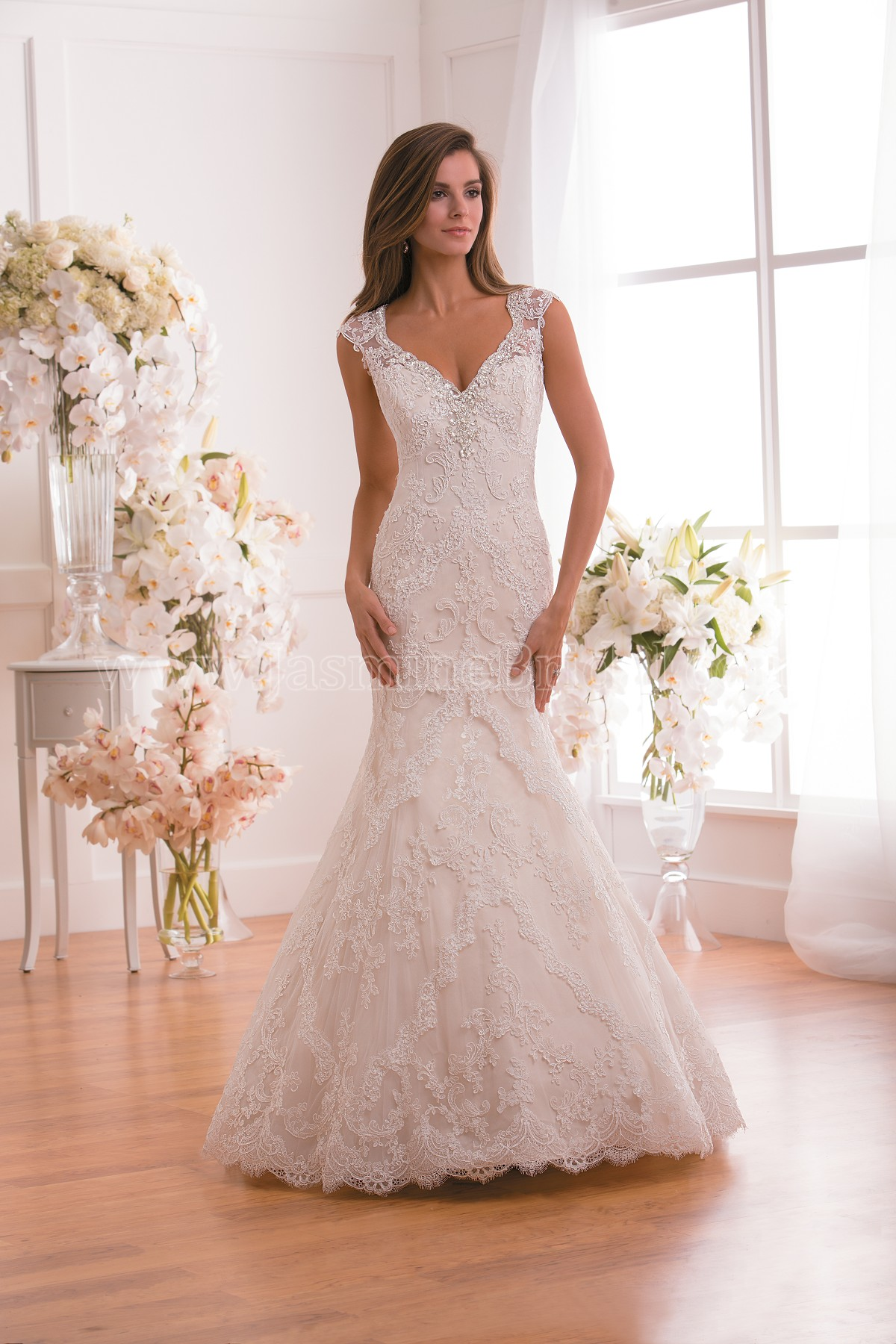 F171013 v neck lace tulle wedding dress with beading home bridal collection f171013 junglespirit Gallery