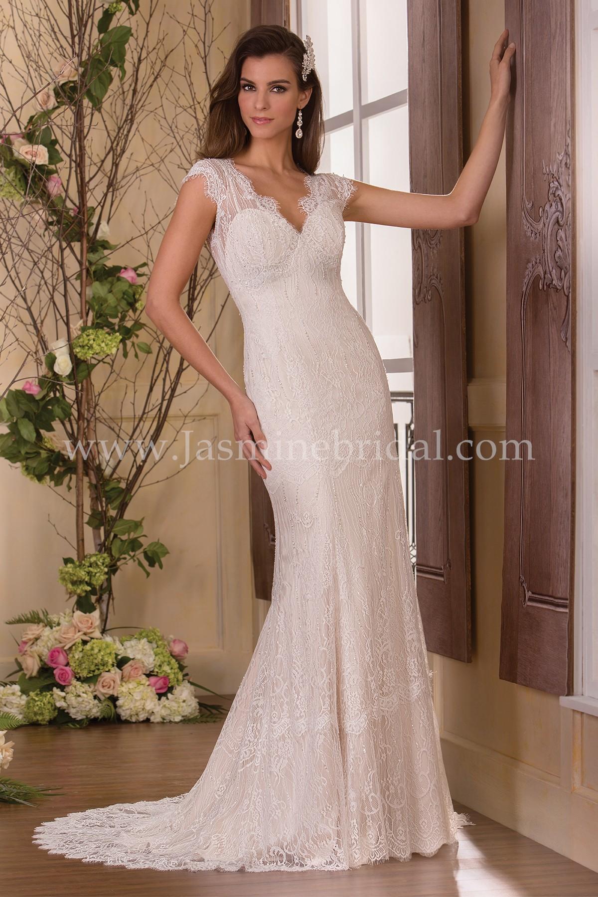 F171059 V-neck Lace Wedding Dress with Beading