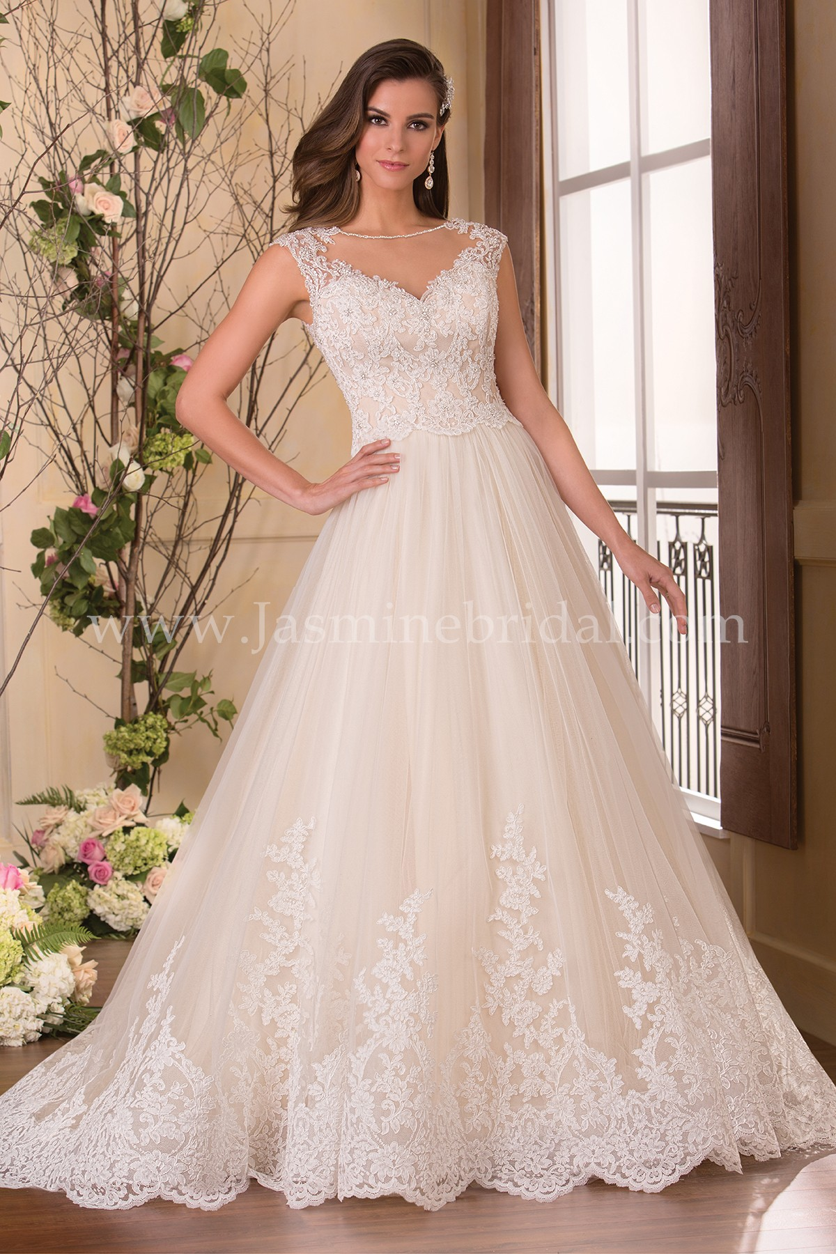 F171065 illusion neckline lace tulle ball gown wedding dress junglespirit Gallery