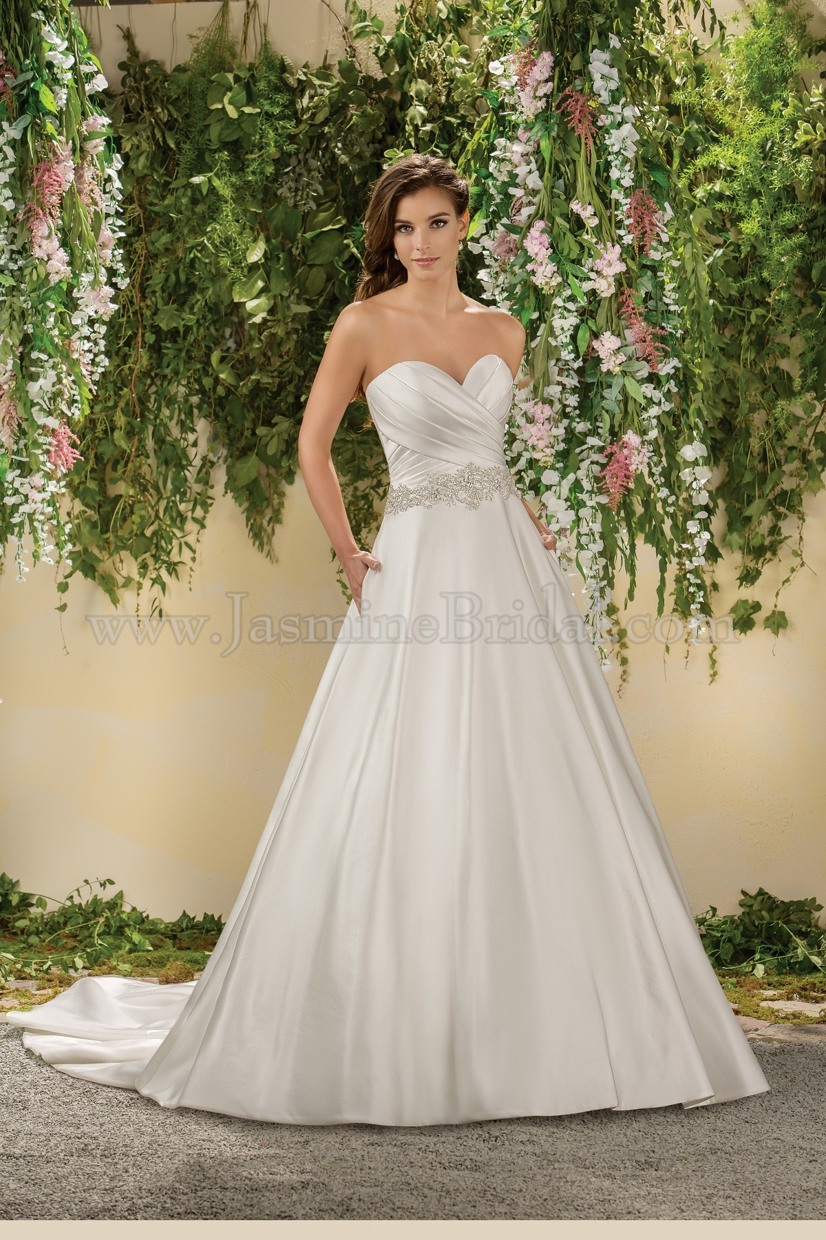 F181008 Sweetheart Strapless Satin Wedding Dress with Beading & Pockets