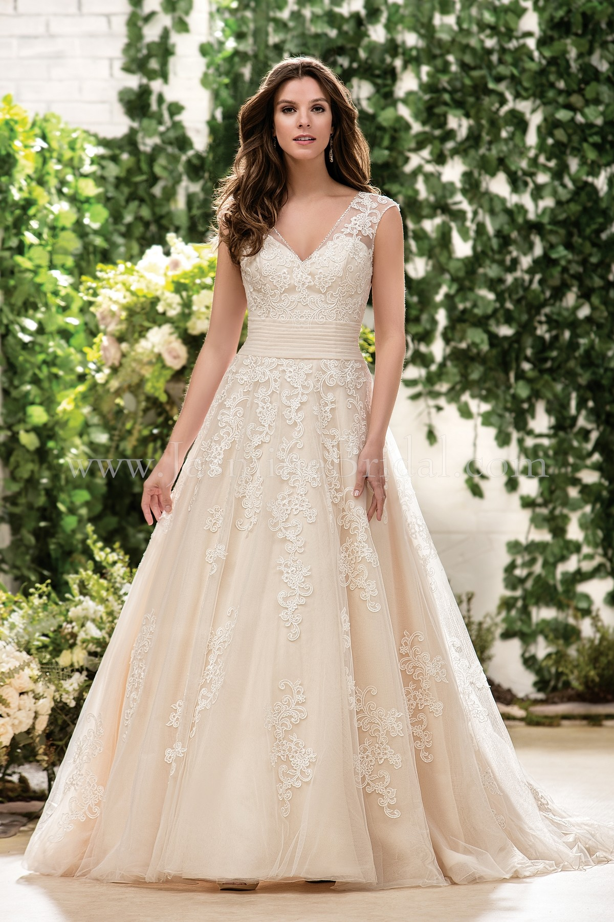 F181063 V-neck Embroidery Lace & Tulle Ball Gown Wedding Dress