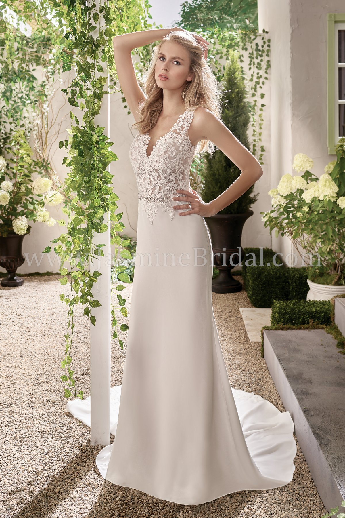 F191003 v neck crepe organza wedding dress with embroidered lace junglespirit Image collections