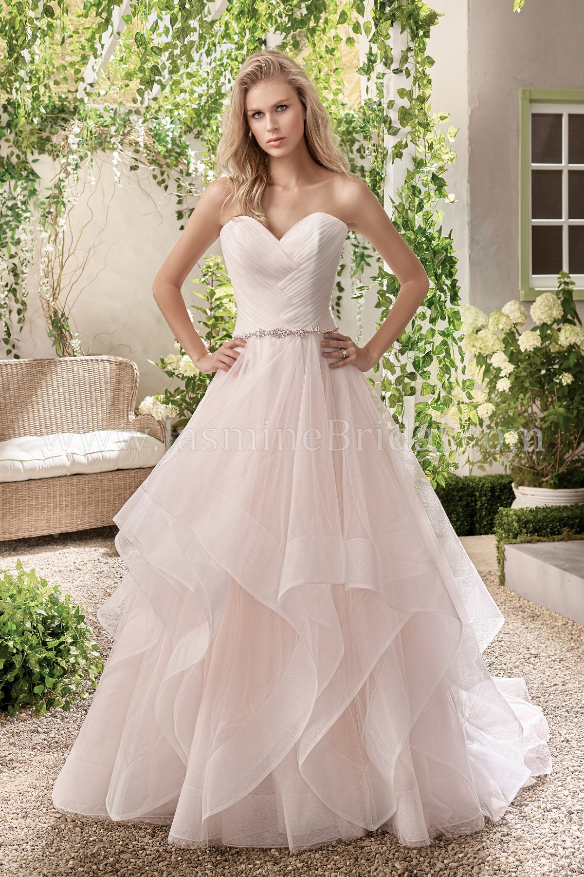 Ruffled Tulle Wedding Dress