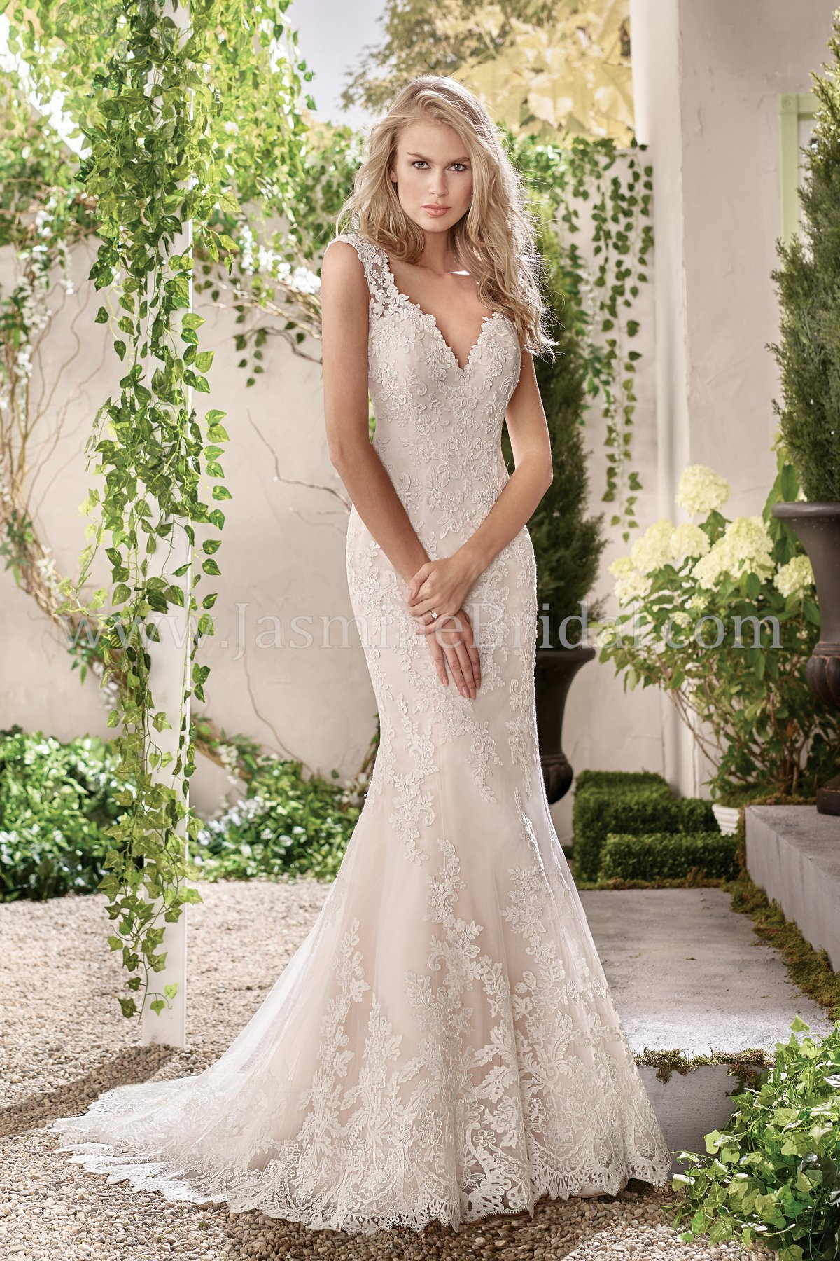 F191011 V-neck Lace & Tulle Fit & Flare Wedding Dress