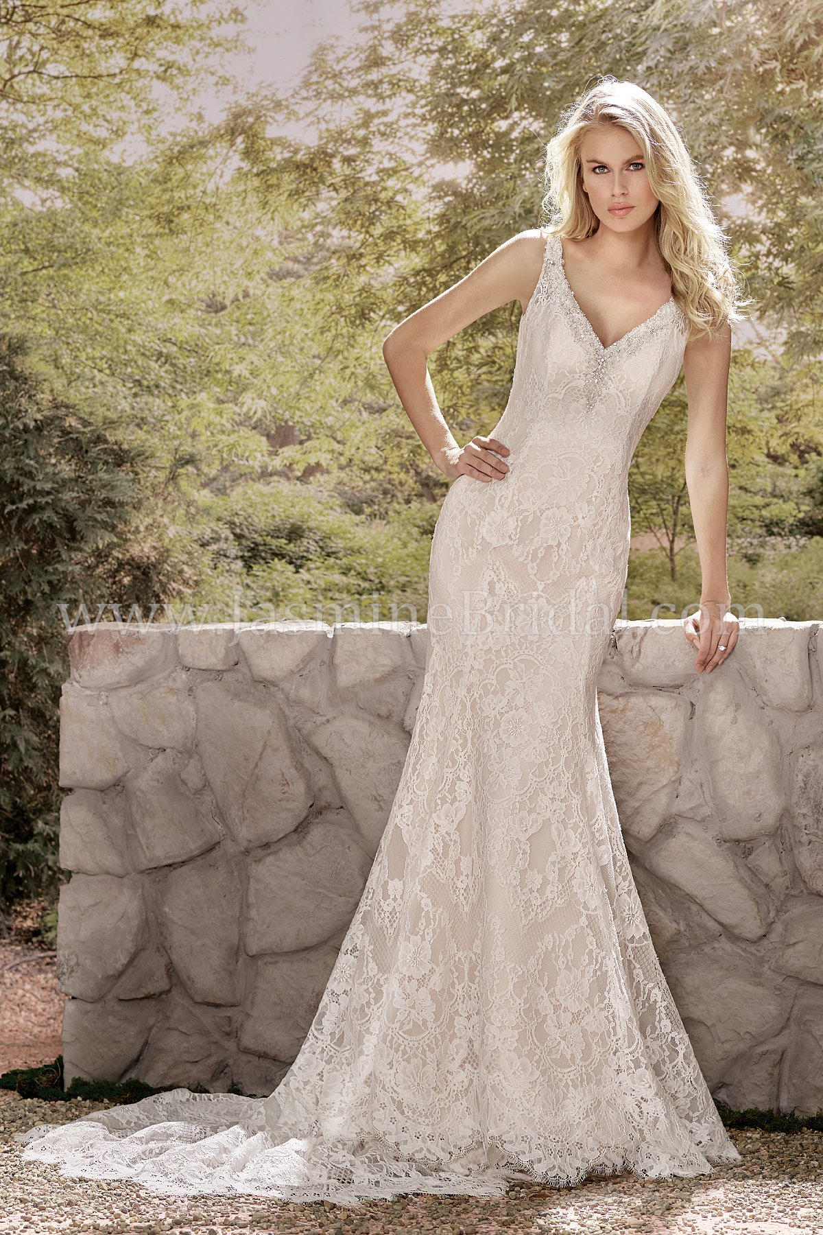 F191013 V Neck Lace Fit Flare Wedding Dress With Beading