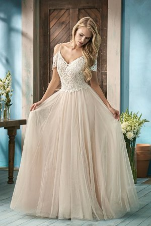 5eac5af5cabe dressimg. F191053. Rustic style A-line bridal gown with a beautiful beaded  bodice and ...