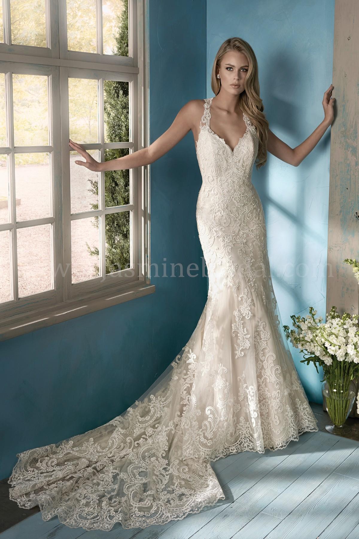 F191054 V-neck Lace Wedding Dress with Halter Straps