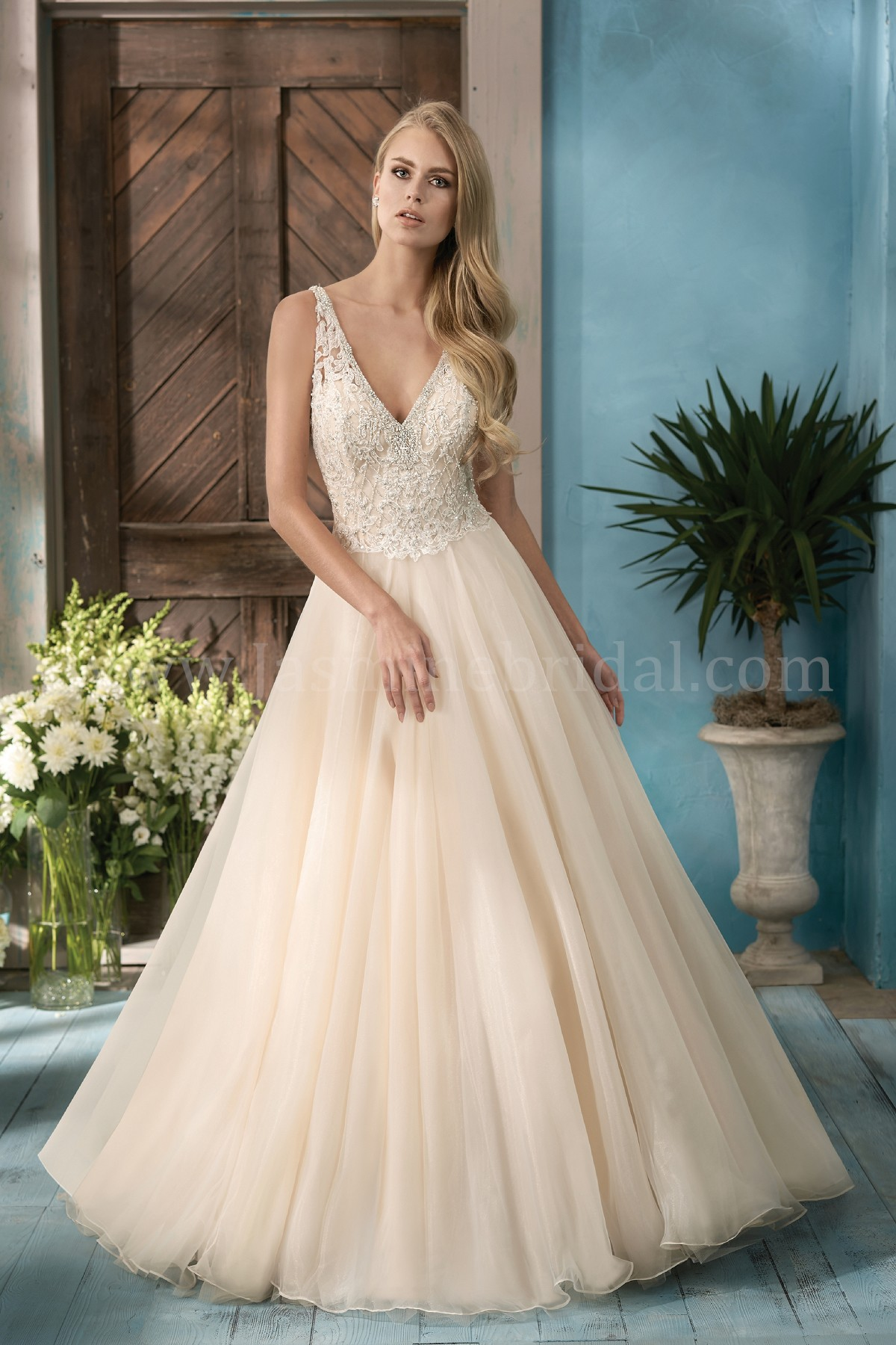 F191057 V-neck Embroidered Lace & Organza Ball Gown Wedding Dress