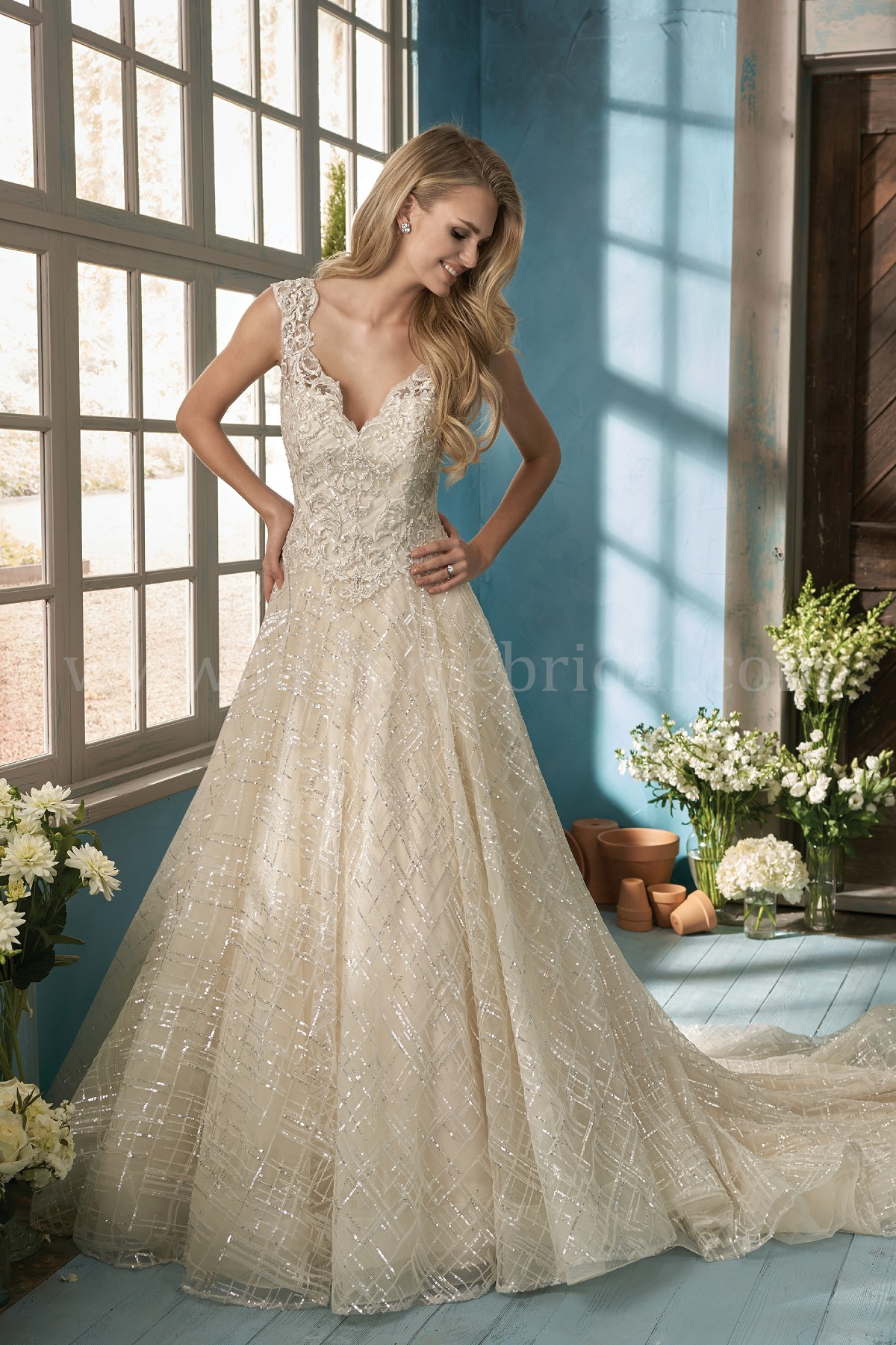 F191062 V Neck Sequin Embroidered Lace Ball Gown Wedding Dress