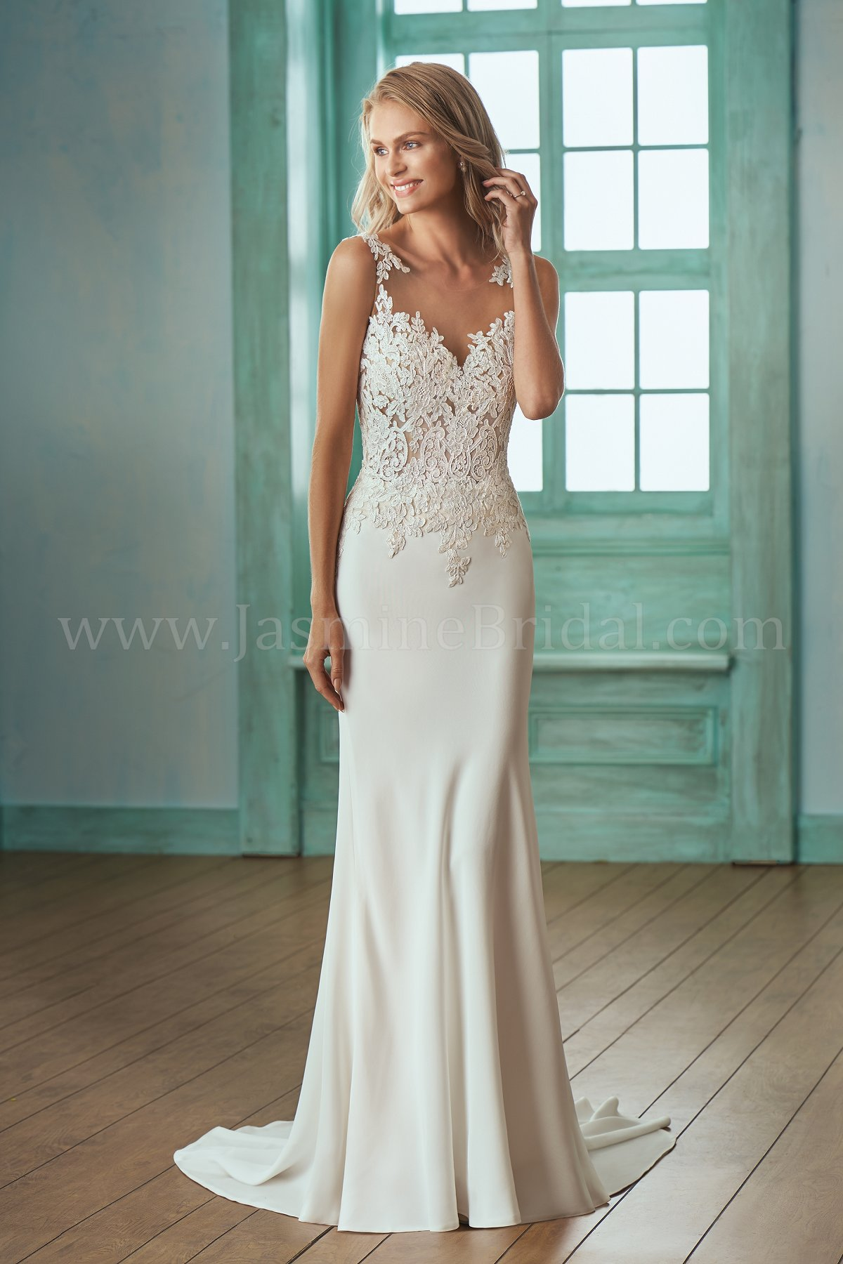 F201001 Illusion Bodice , Illusion Neckline Lace & Crepe Wedding Dress