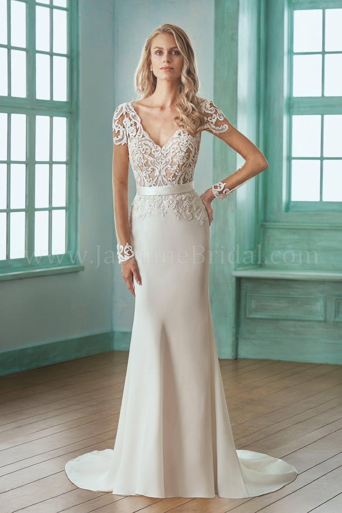 F201003 Illusion Bodice , V-neck Lace & Crepe Wedding Dress with ...