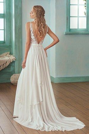 c931942c0c73 F201007 Illusion Bodice , V-neck Lace & Chiffon Wedding Dress