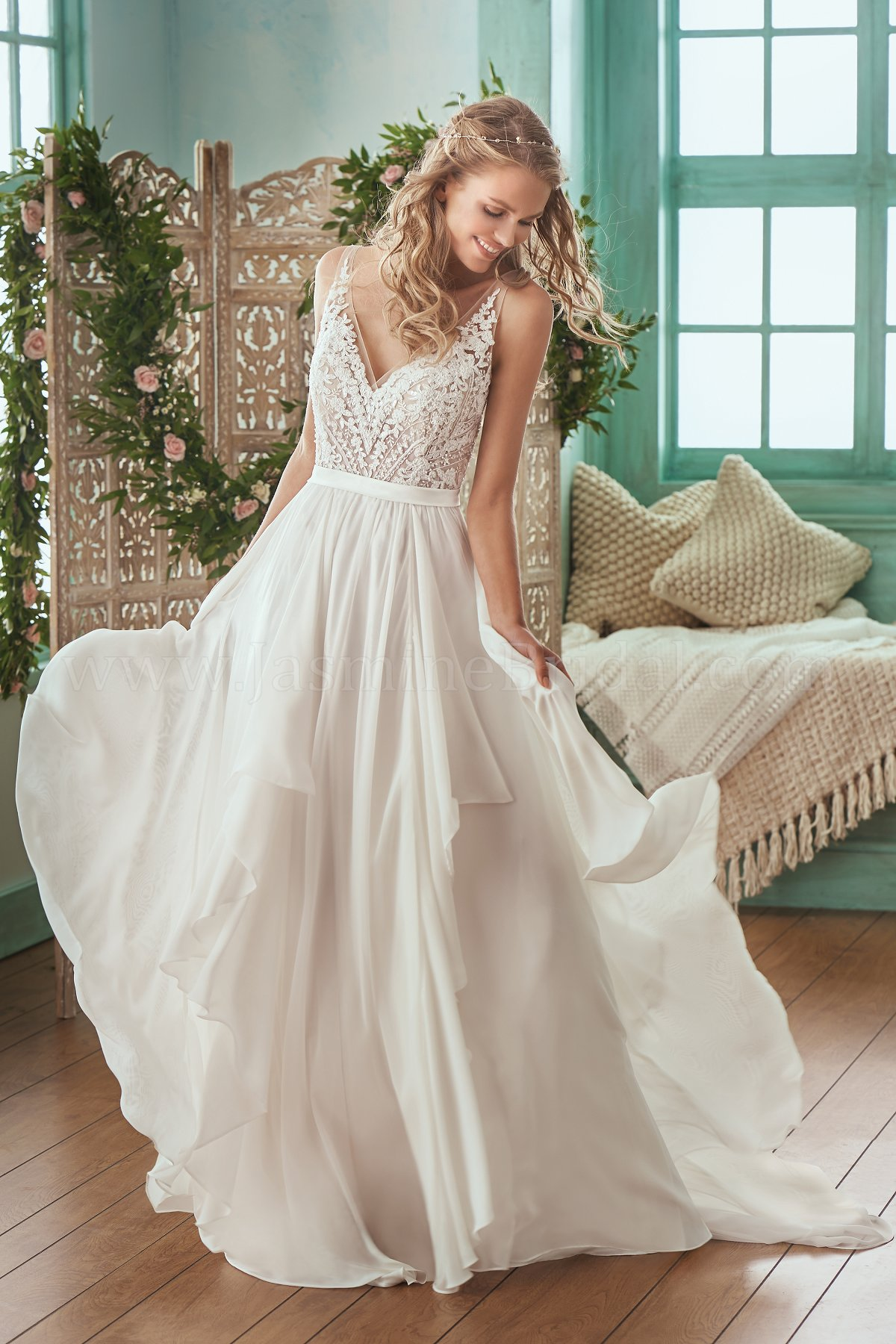 F201007 Illusion Bodice , V-neck Lace & Chiffon Wedding Dress