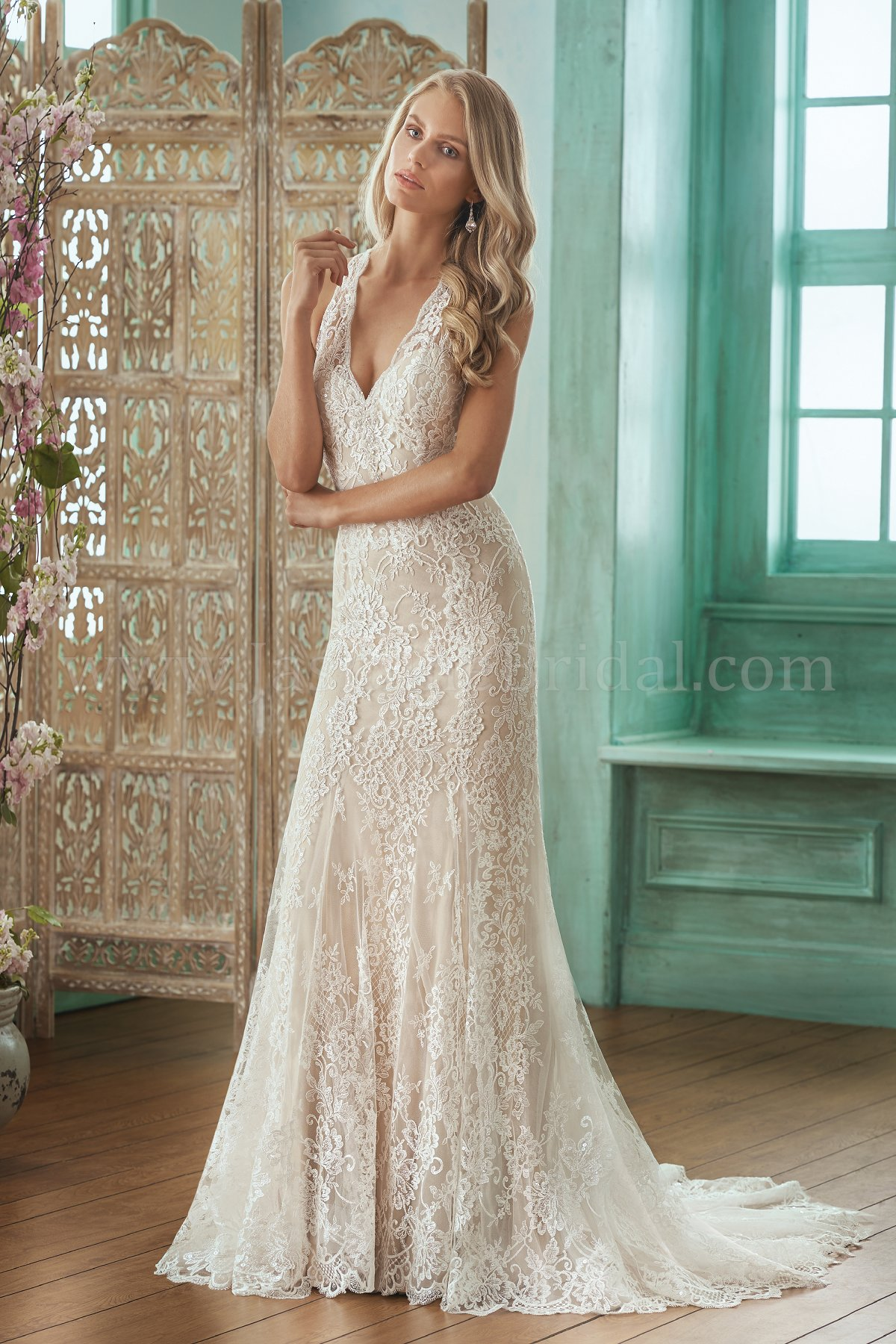 F201013 V-neck Sequin Lace & Silky Jersey Wedding Dress
