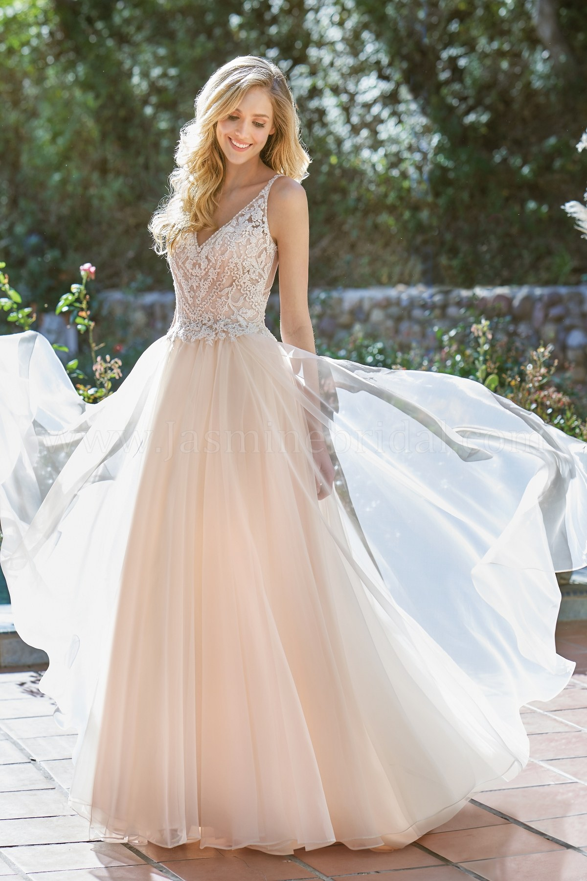 ddff7a6e73c F201064 V-neck Embroidered Lace Organza   Netting Wedding Dress