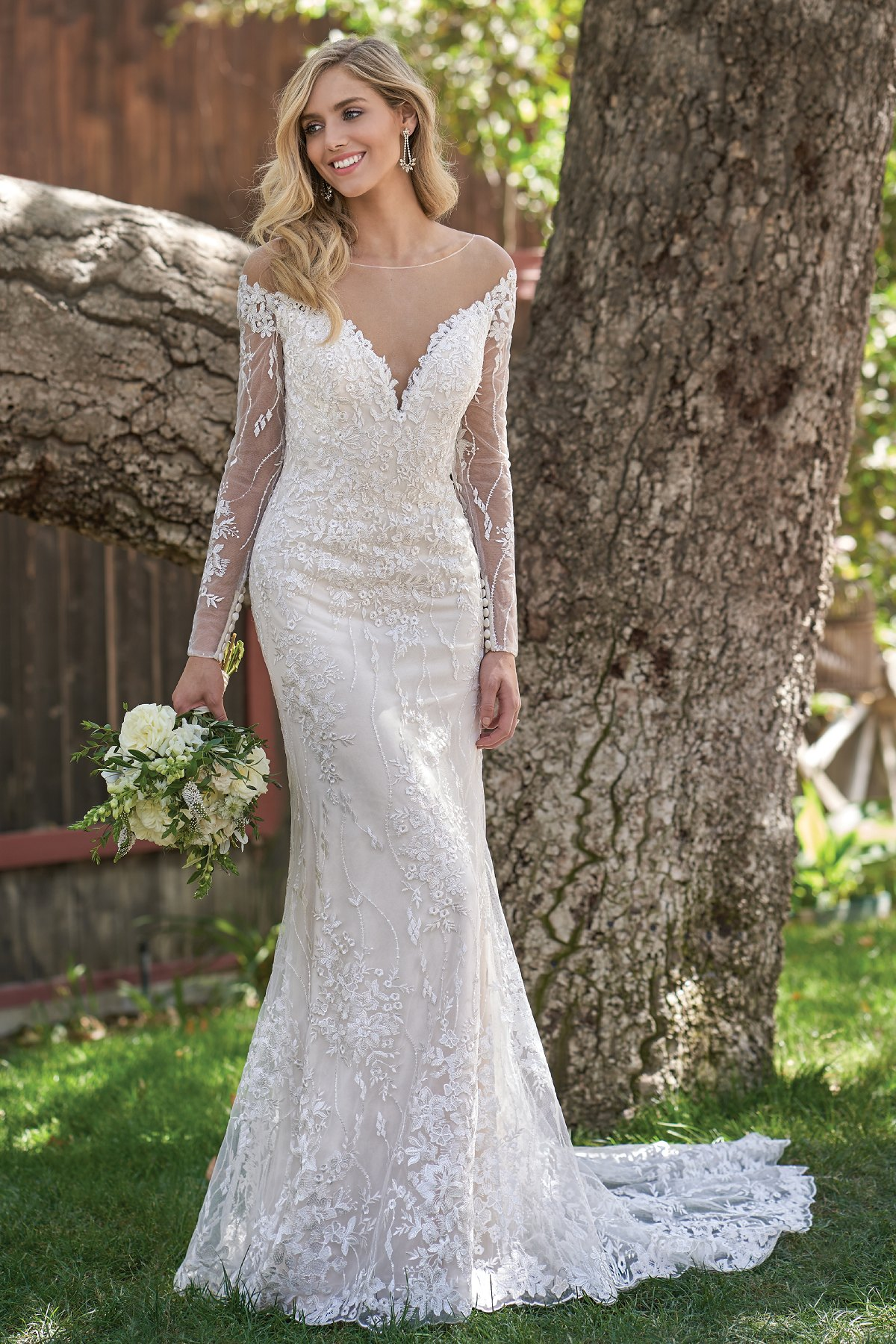 F211006 Sophisticated Embroidered Lace Wedding Dress With Illusion