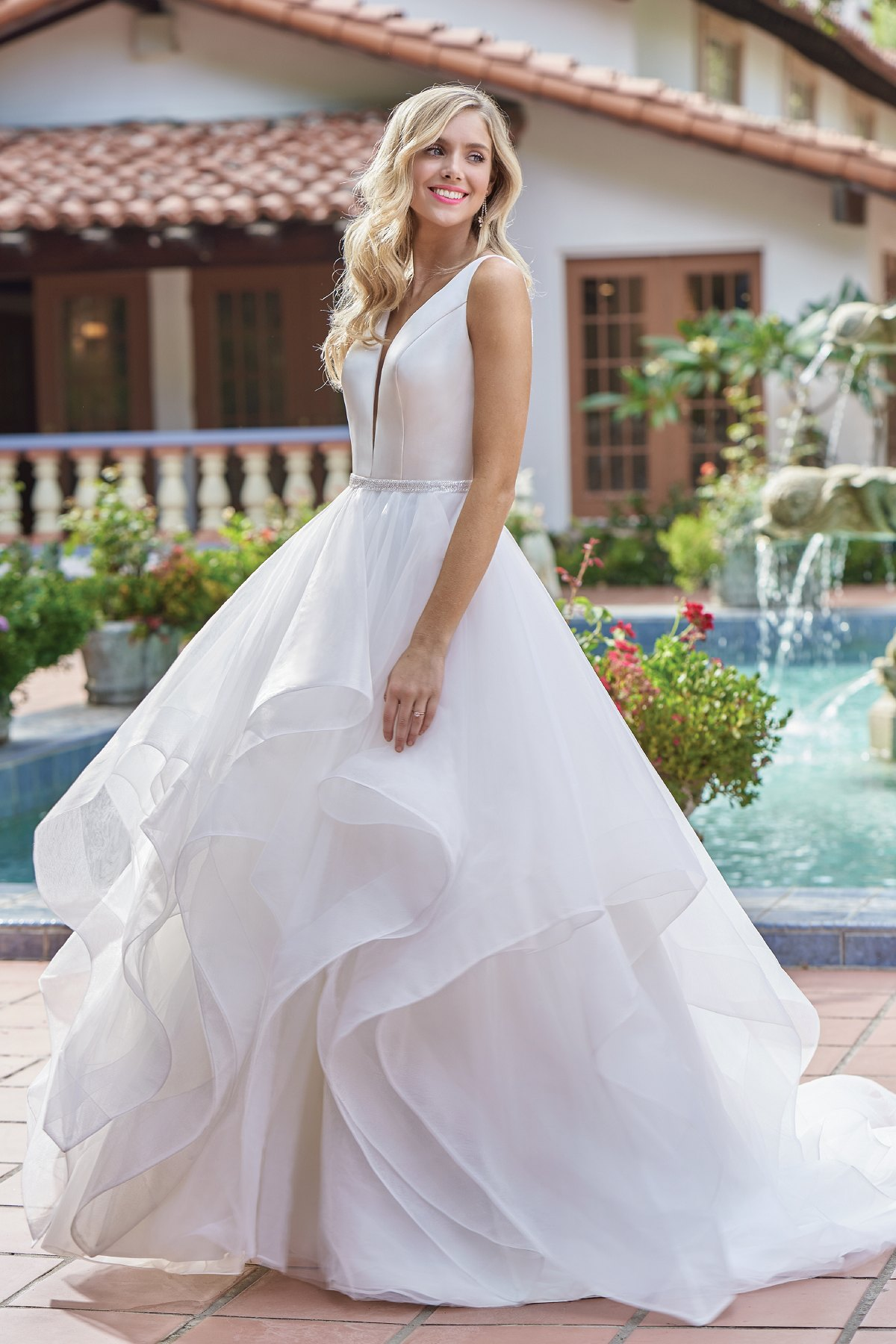 F211015 Gorgeous Italian Satin Organza Ball Gown Wedding Dress