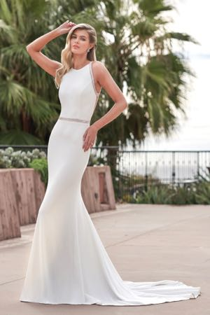 F211051 Simple Stretch Crepe Silky Jersey Wedding Dress With