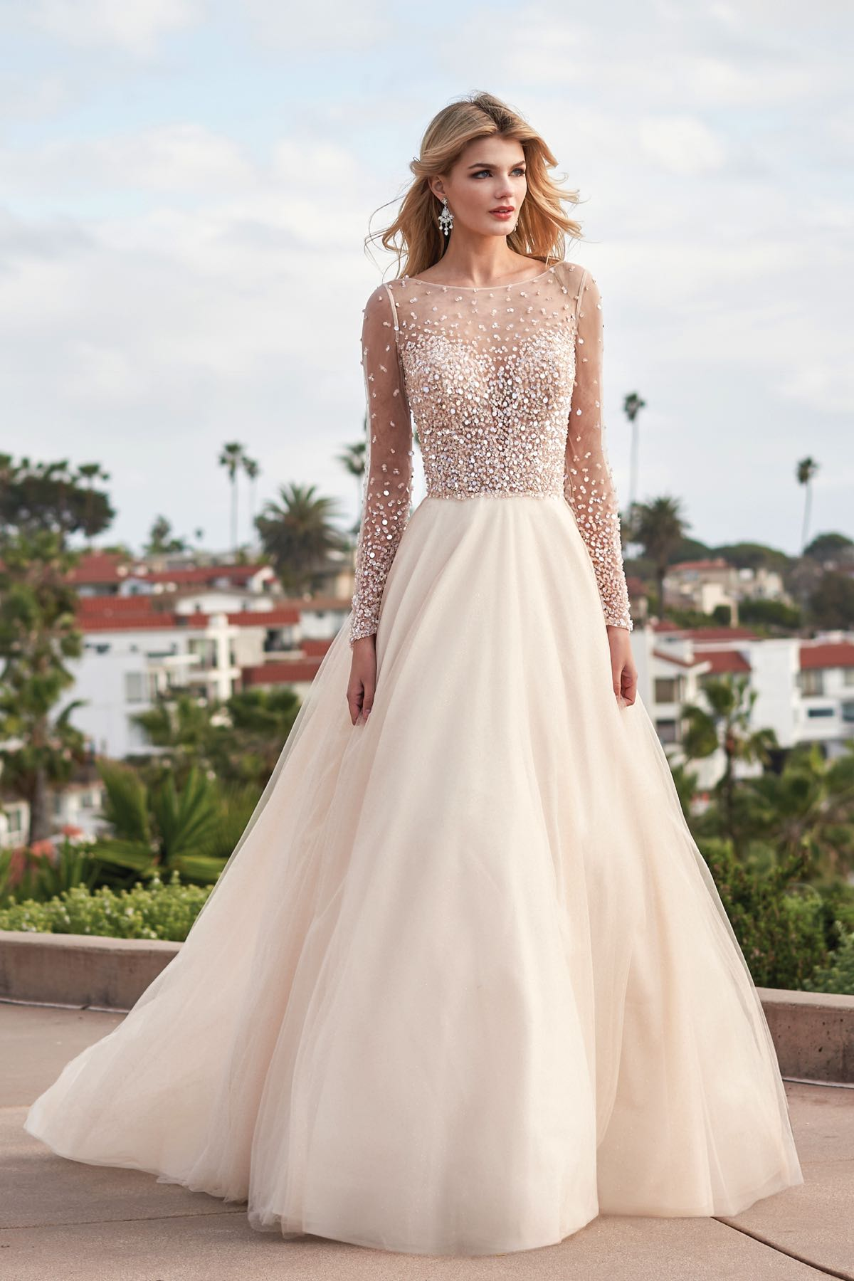 F211062 Stunning Long Sleeved Wedding Gown With Illusion