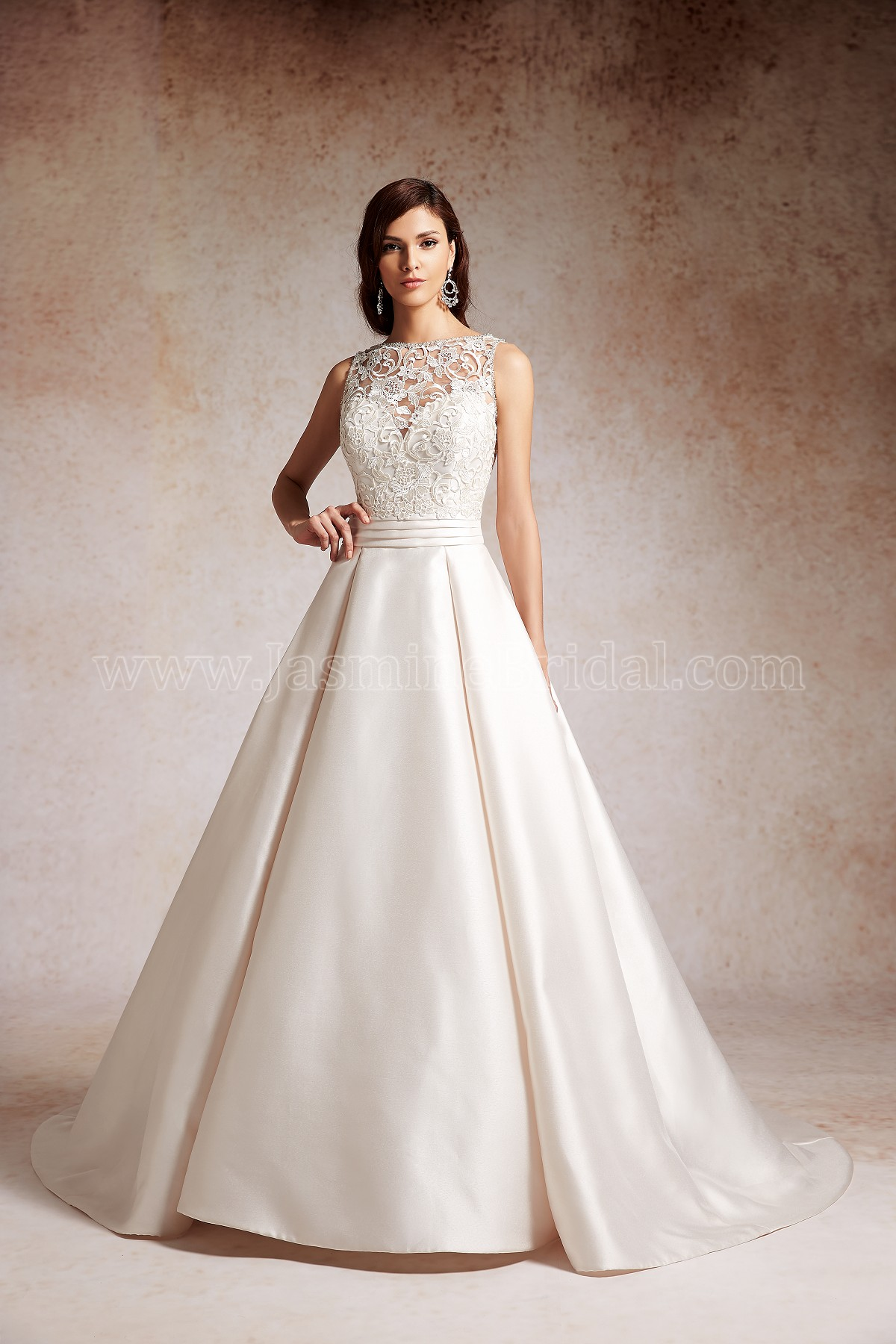 7796163e9d8 T152065 Illusion Neckline Encore Ball Gown Wedding Dress