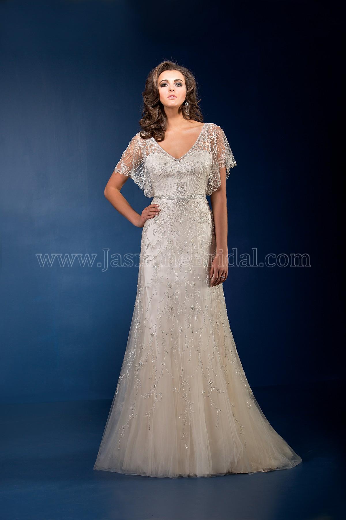 T162067 Vneck Beaded Netting Wedding Dress With Flutter Sleeves - Flutter Sleeve Wedding Dress