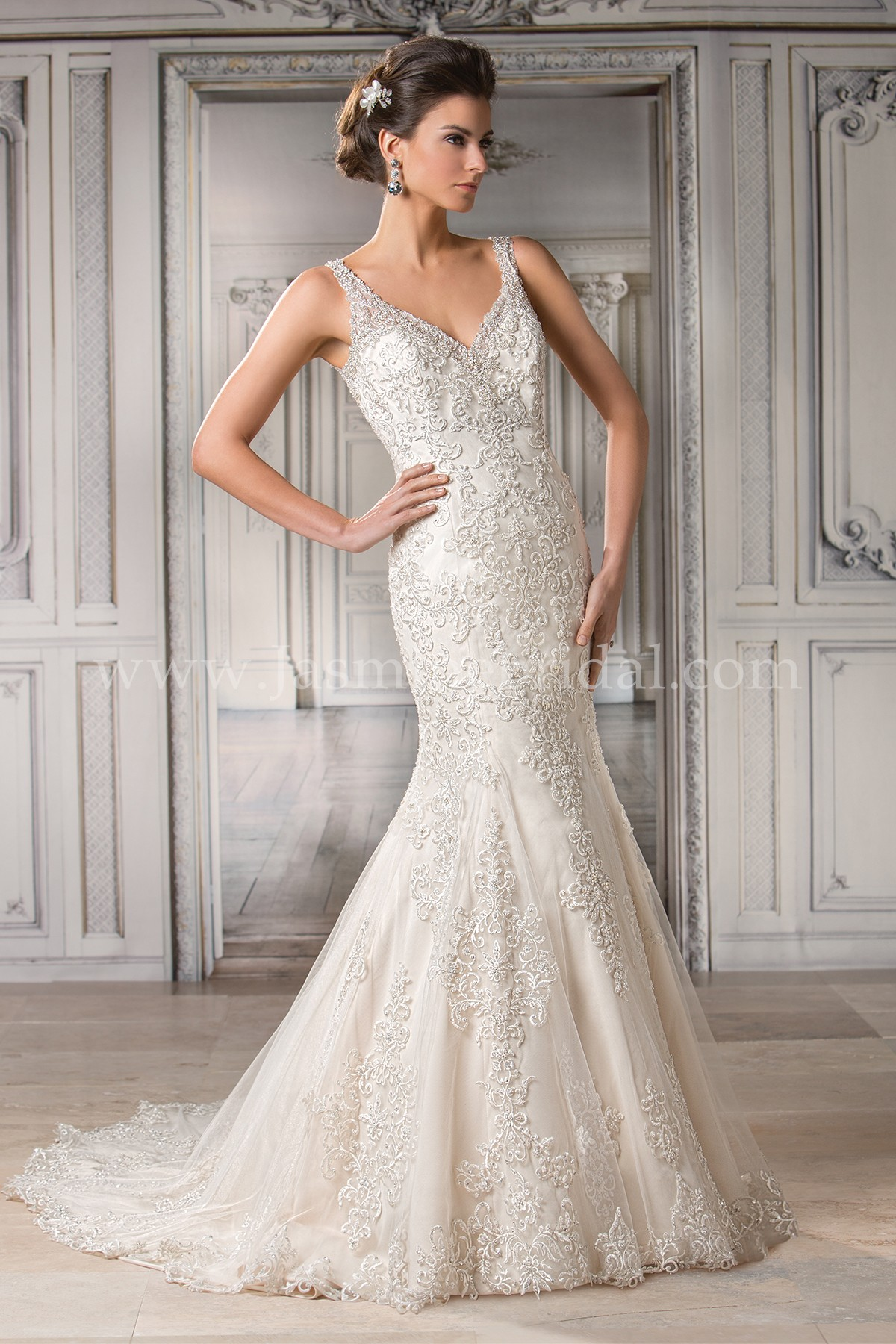 T172060 V-neck Embroidery Lace & Tulle Wedding Dress