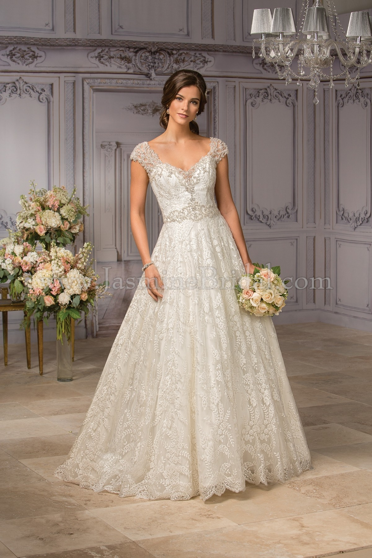 T182007 V-neck Embroidery Lace & Tulle Ball Gown Wedding Dress