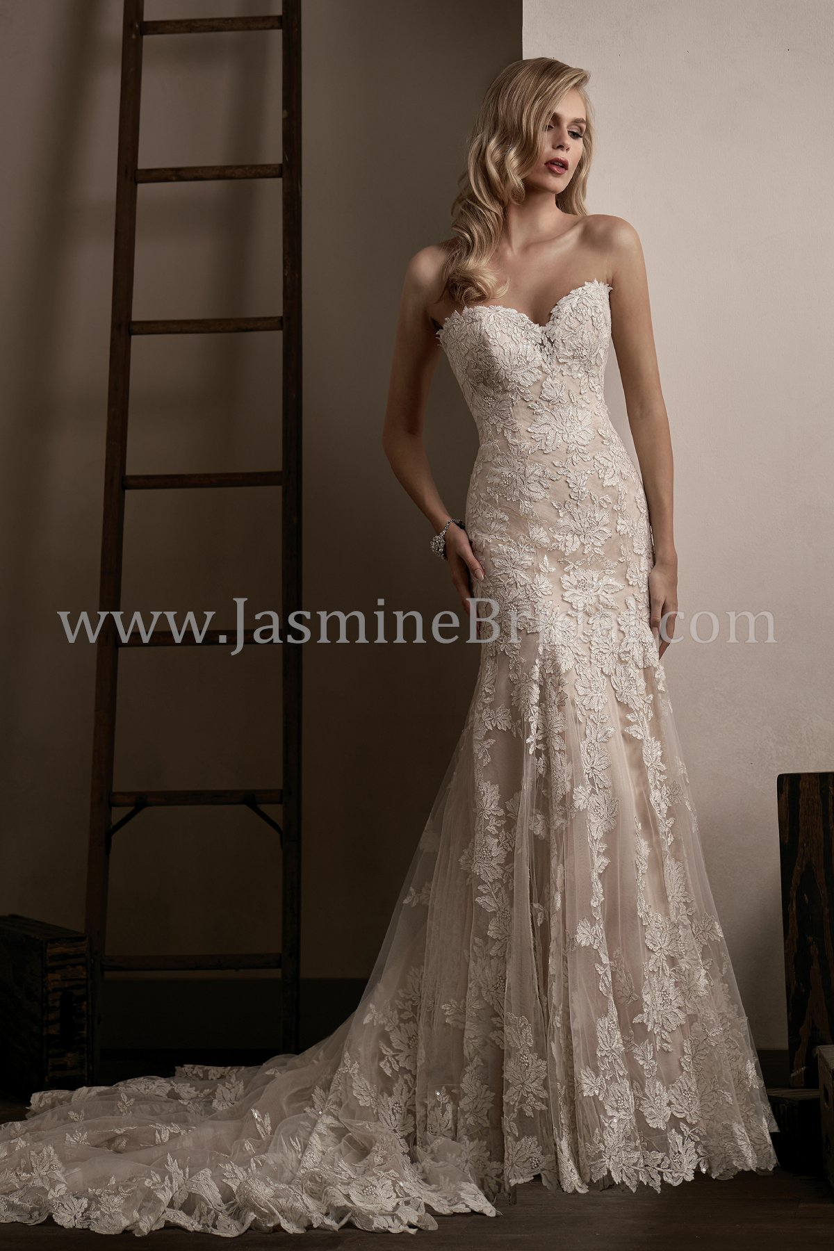 T192005 Sweetheart Strapless Embroidery Lace & Tulle Wedding Dress