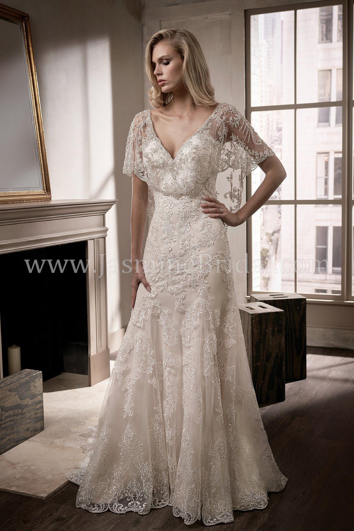 T192008 V Neck Embroidery Lace Tulle Wedding Dress With Flutter Sleeves