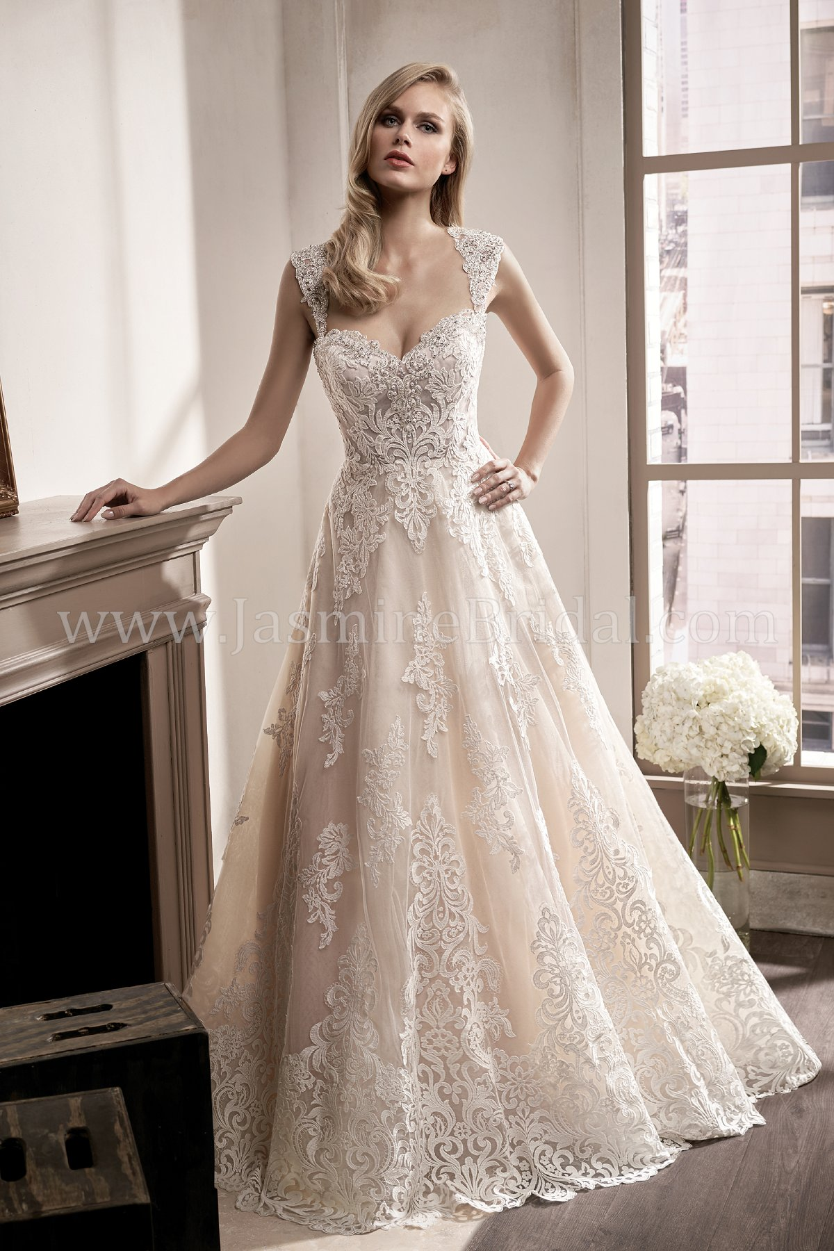 T192016 Illusion Bodice Sweetheart Neckline Organza Tulle Wedding Dress With Embroidery Lace