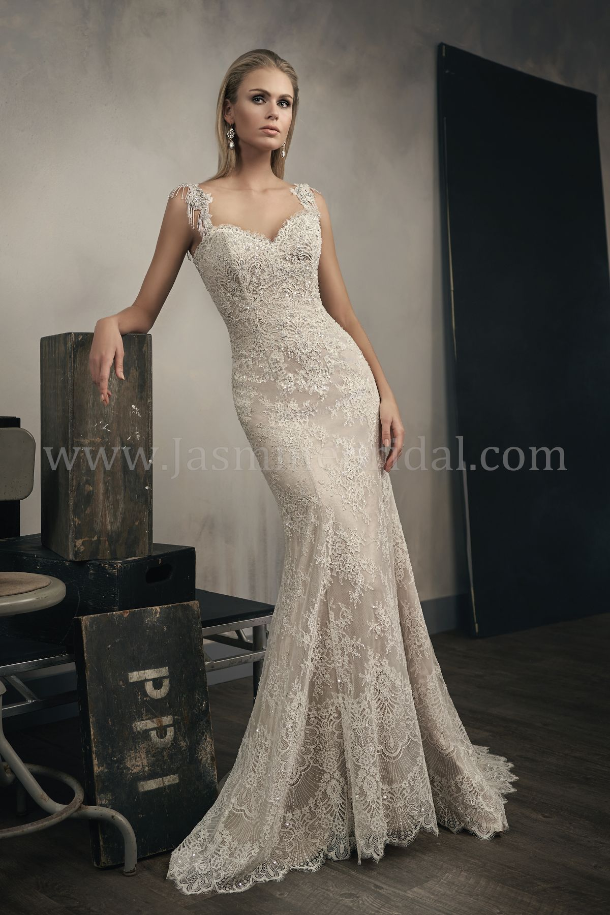 T192051 Sweetheart Neckline Lace Wedding Dress With Beaded Straps