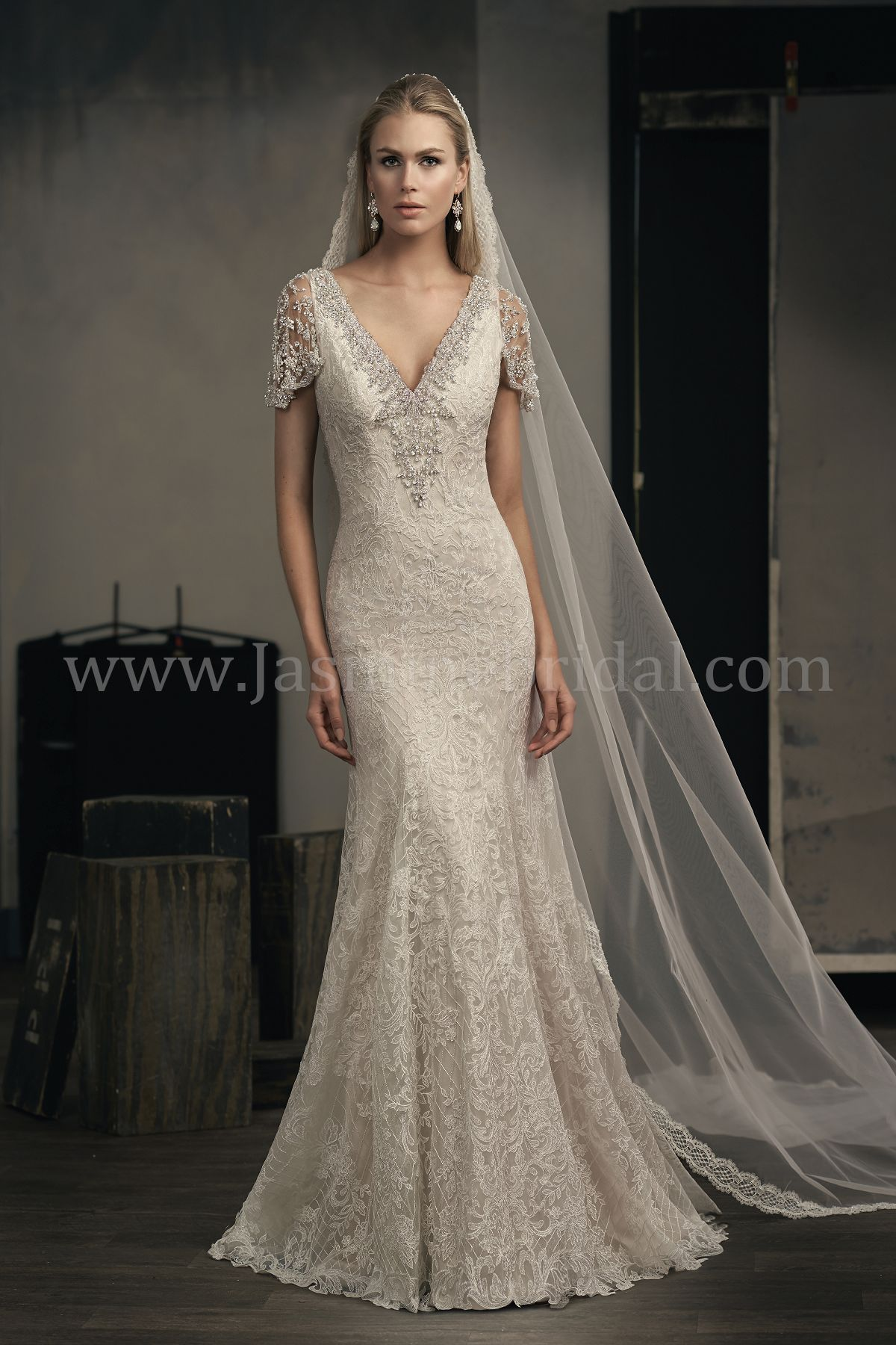 1fa214cb78b T192055 V-neck Embroidered Lace Wedding Dress with Cap Sleeves