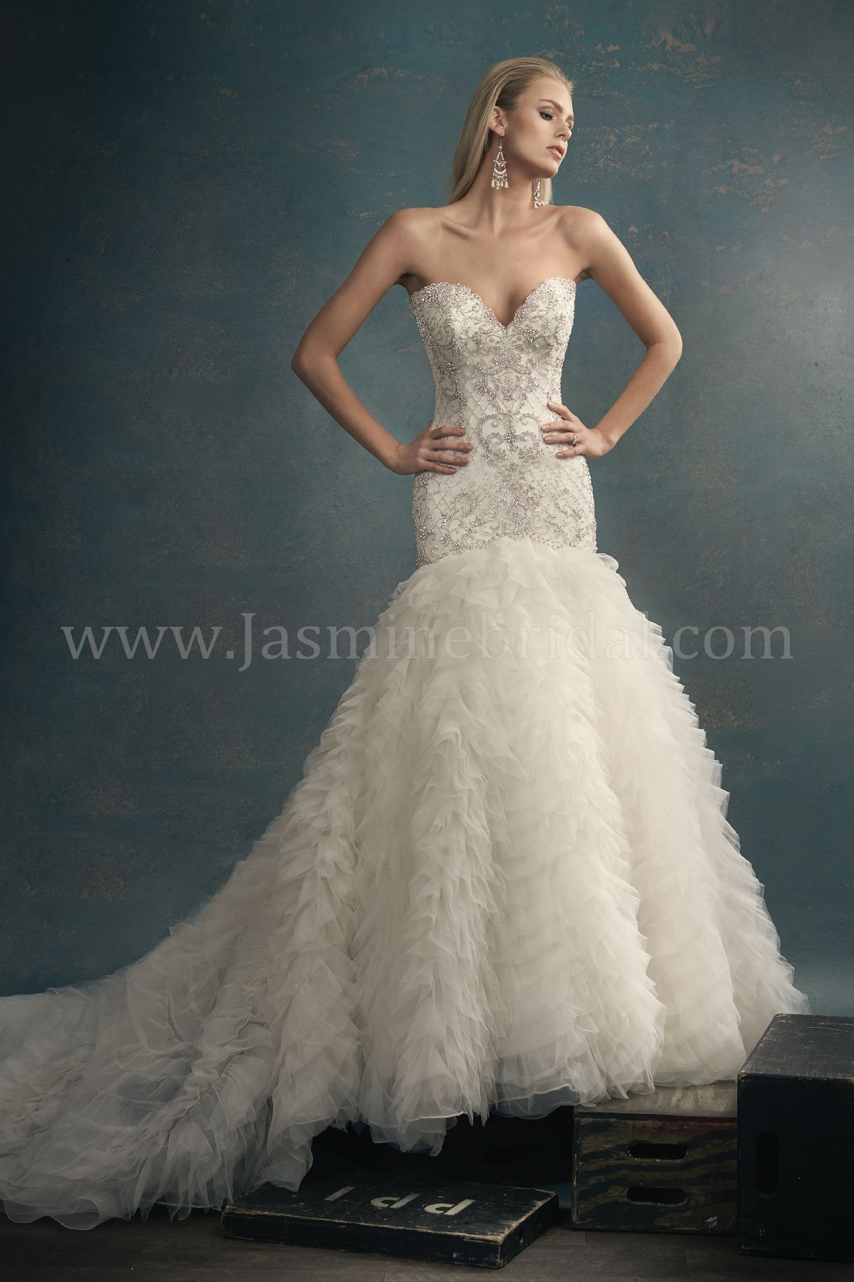 T192061 Sweetheart Strapless Tulle Wedding Dress with Embroidery ...