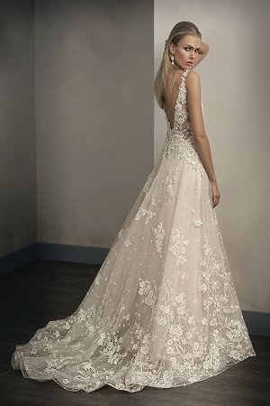 T192062 Illusion Bodice V Neck Embroidered Lace Ball Gown Wedding