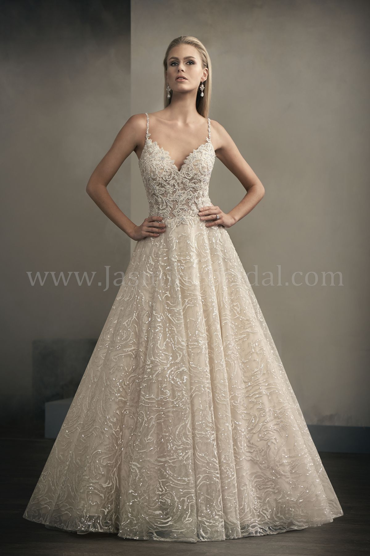 T192063 Illusion Bodice , V-neck Sequin Lace Ball Gown Wedding Dress ...