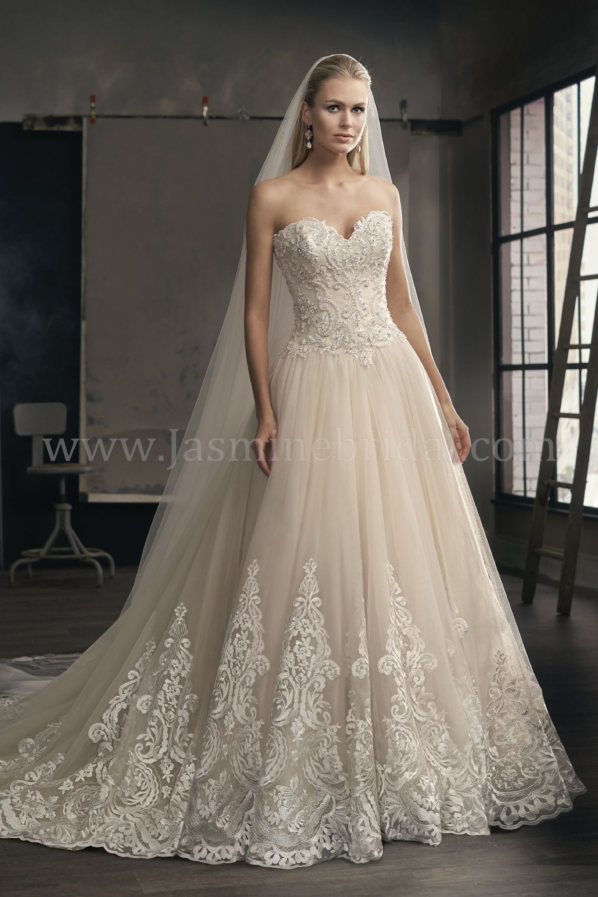 T192065 Sweetheart Strapless Embroidered Lace & Tulle Ball Gown ...