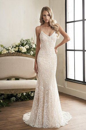 eb99a0892dfd4 Bridal. T202001. Lace, silky jersey fit and flare bridal gown ...