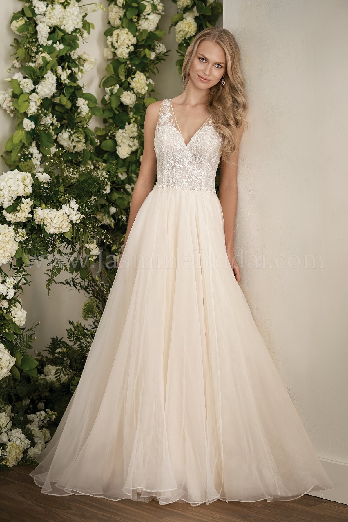 T202007 Illusion Bodice , V-neck Sequin Lace Ball Gown Wedding Dress