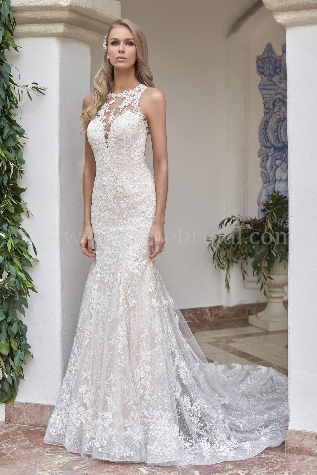 T202053 Illusion Halter Neckline Sequin Lace Tulle Wedding