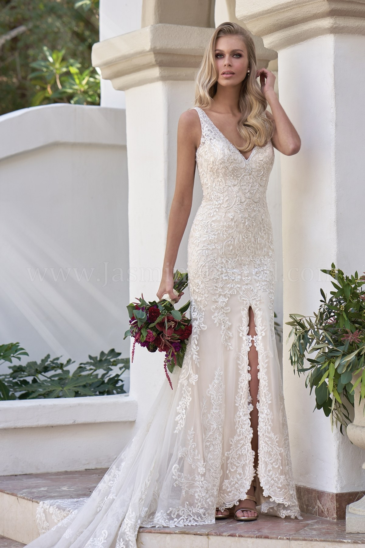 T202054 V Neck Embroidered Lace Silky Jersey Wedding Dress