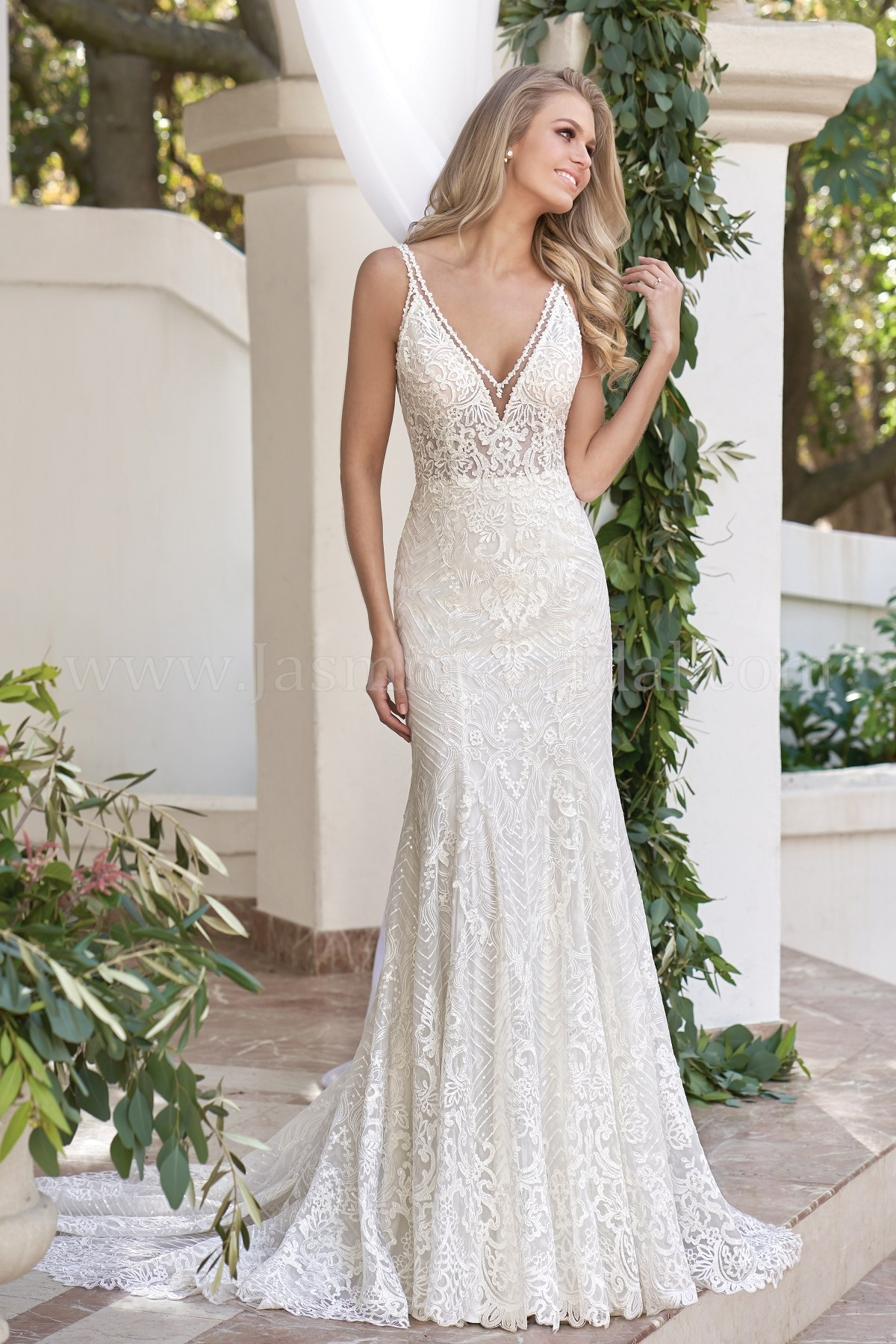 T202058 Illusion Bodice V Neck Embroidered Lace Sequin Tulle Wedding Dress