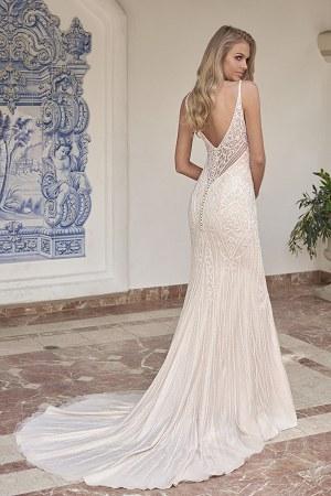 T202059 V-neck Netting Tulle & Silky Charmeuse Wedding Dress