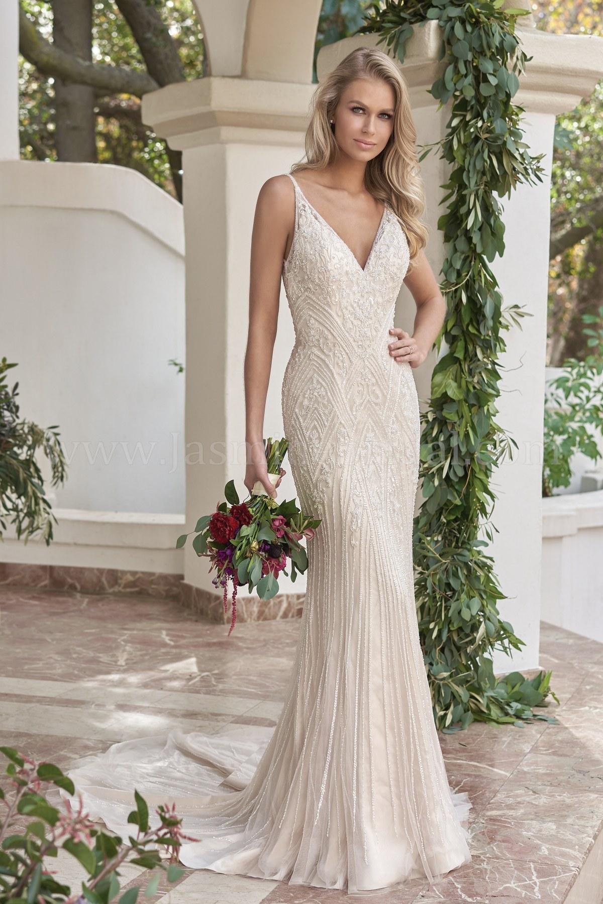 T202059 V Neck Netting Tulle Silky Charmeuse Wedding Dress