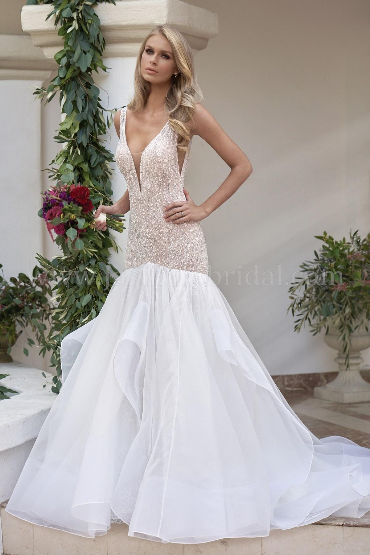 T202060 Illusion Bodice V Neck Sequin Lace Tulle Organza Wedding Dress